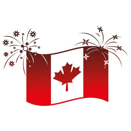 canadian flag with fireworks vector illustration design