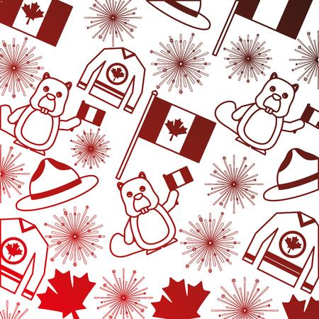 Kanadische Flagge mit Feuerwerk und Biber Muster Vektor-Illustration Design Standard-Bild - 98577010