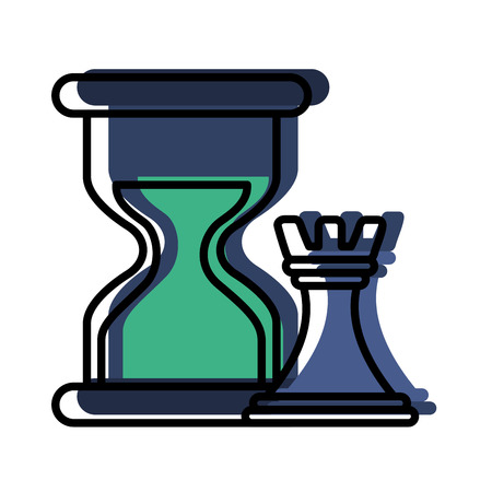 hourglass and chess tower icons vector illustration design