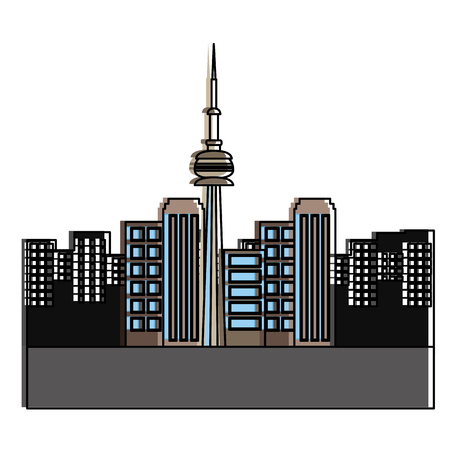 toronto canada city scene vector illustration outline