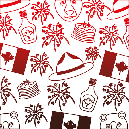 canadian flag and bear with hat pattern vector illustration design