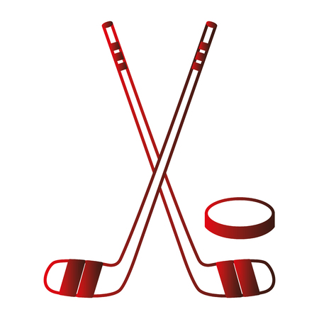 hockey sticks crossed and puck vector illustration design Illustration