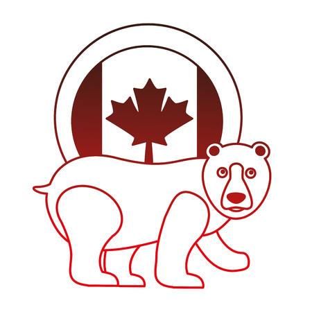 grizzly bear with canadian flag button vector illustration design