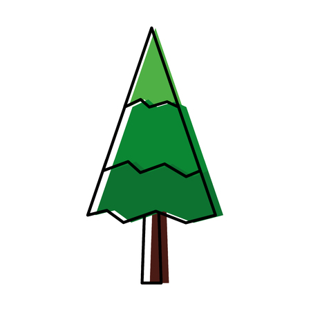 pine tree natural forest concept vector illustration outline Banco de Imagens - 98595270
