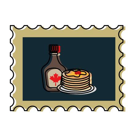pannekoek en flessensiroop in ontwerp van de postzegel het vectorillustratie