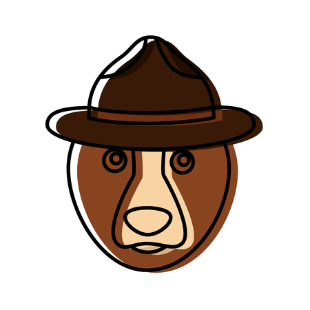 Ours grizzly avec chapeau conception vecteur illustration Banque d'images - 98574303