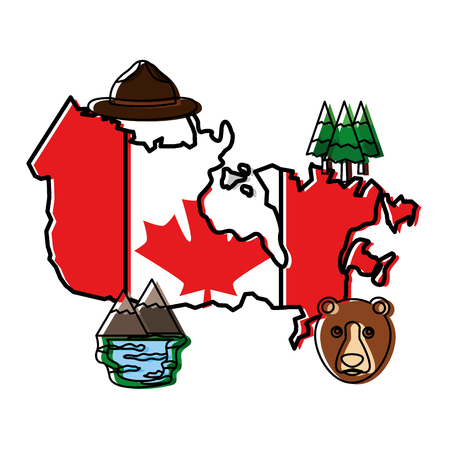 canadian map with flag and set icons vector illustration outline