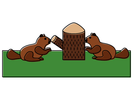 beavers with trunk tree scene vector illustration design Illusztráció