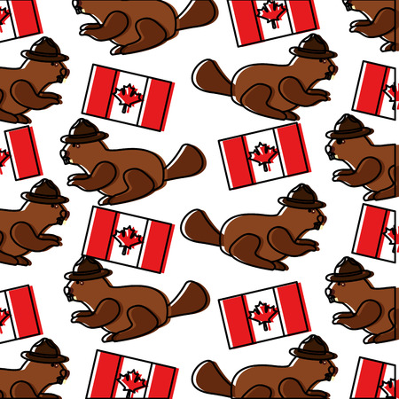 beaver with hat and canadian flag pattern vector illustration design 일러스트
