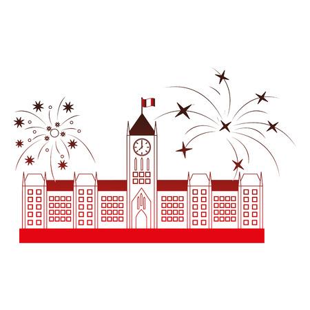 오타와 의회 건물 및 불꽃 놀이 벡터 일러스트 레이 션 디자인 스톡 콘텐츠 - 98595300
