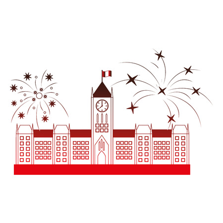 ottawa parliament building and fireworks vector illustration design