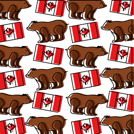 grizzly bear with canadian flag pattern vector illustration design Stock Vector - 98595303