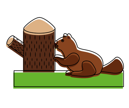 beaver rodent with trunk tree vector illustration design  イラスト・ベクター素材