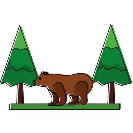grizzly bear in pine forest scene vector illustration design Stock Vector - 98595313