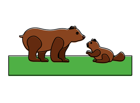 grizzly bear and beaver vector illustration design Stock Vector - 98574305