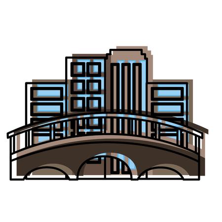 cityscape with bridge scene vector illustration design