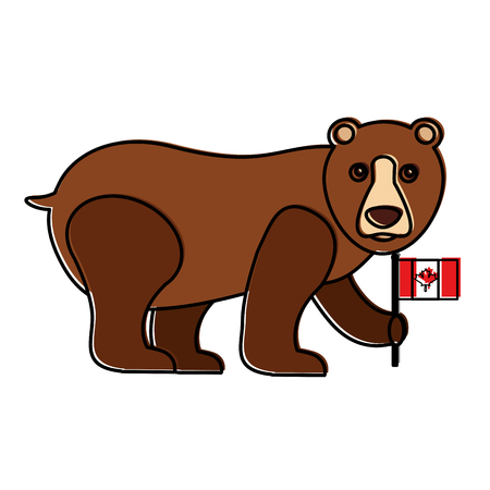 grizzly bear with canadian flagvector illustration outline
