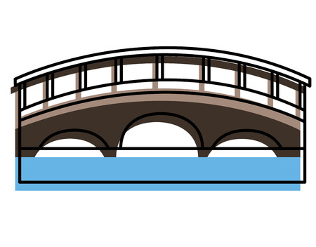 bridge with water scene vector illustration design Illusztráció