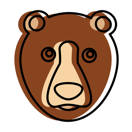 grizzly bear head character vector illustration design