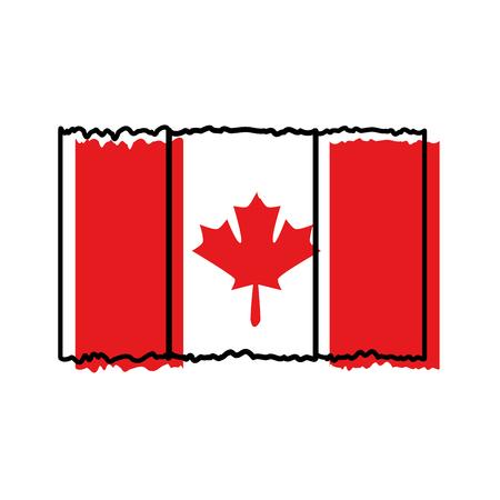 Profilo dell'illustrazione di vettore dell'icona del paese della bandiera canadese Archivio Fotografico - 98595340