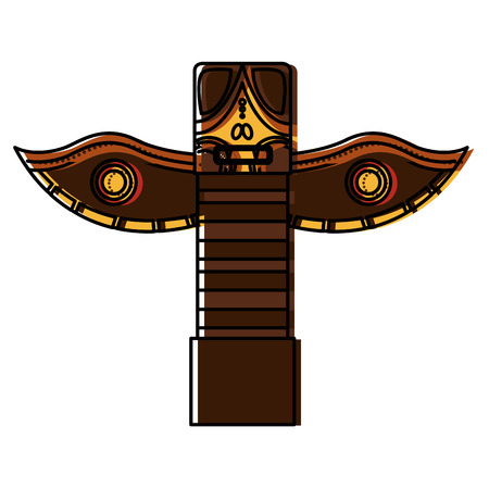 canadian totem wooden icon vector illustration design