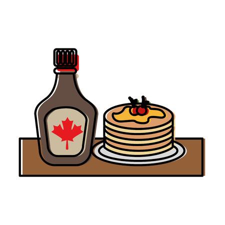 Pfannkuchen mit Flaschensirupahornvektor-Illustrationsdesign Standard-Bild - 98595345
