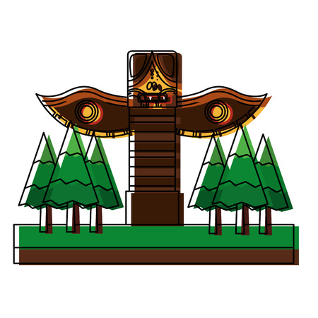 wooden totem in forest pine trees vector illustration design
