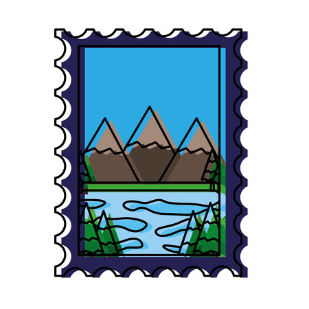 mountains and lake in postage stamp vector illustration design 일러스트