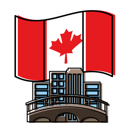 cityscape with bridge and canadian flag vector illustration design Illustration