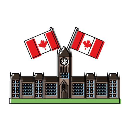 캐나다 플래그 벡터 일러스트 레이 션 desing와 오타와 의회 건물 스톡 콘텐츠 - 98595355