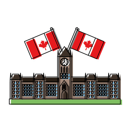 ottawa parliament building with canadian flags vector illustration desing