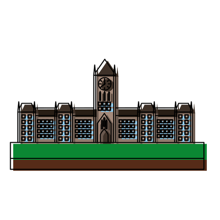 오타와 캐나다 의회 건물 외관 벡터 일러스트 레이 션 디자인 스톡 콘텐츠 - 98595358