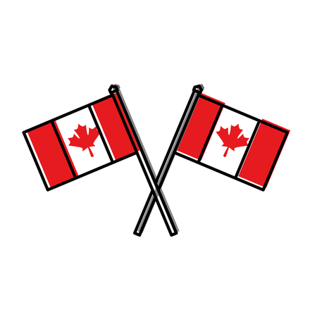 canadian flags crossed icon vector illustration design