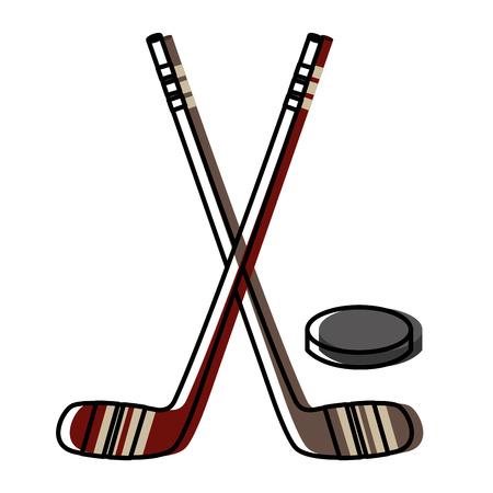 Bâtons de hockey croisés et rondelle conception illustration vectorielle Banque d'images - 98595359
