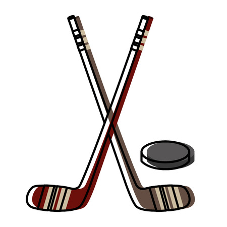 hockey sticks crossed and puck vector illustration design Illustration