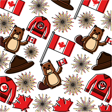 canadian flag with fireworks and beaver pattern vector illustration design Stock Illustratie