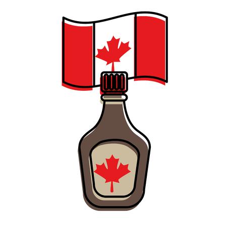 bottle syrup maple and canadian flag vector illustration design