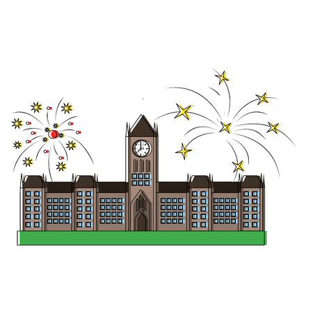오타와 의회 건물 및 불꽃 놀이 벡터 일러스트 레이 션 디자인 스톡 콘텐츠 - 98595437