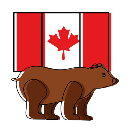 grizzly bear and flag canadian vector illustration design Illustration