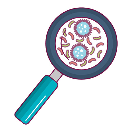 magnifying glass with bacterial culture vector illustration design