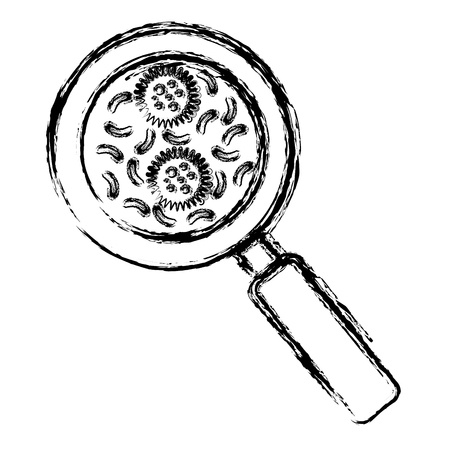 magnifying glass with bacterial culture vector illustration design Stockfoto - 98595565