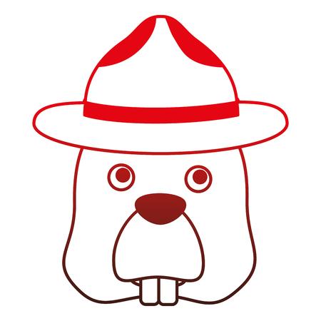 帽子文字ベクトルイラストデザインのビーバー