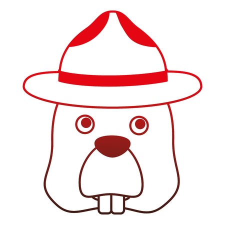 beaver with hat character vector illustration design  イラスト・ベクター素材