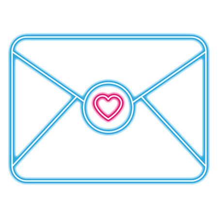 envelope with heart love in neon lights vector illustration design Illustration