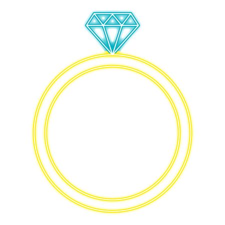 diamond ring with neon lights vector illustration design