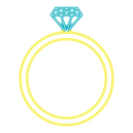 diamond ring with neon lights vector illustration design