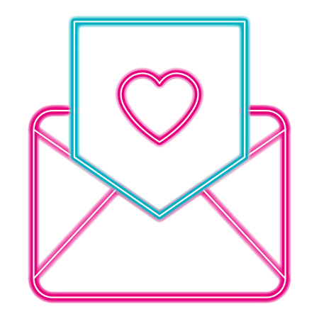 envelope with heart love in neon lights vector illustration design Ilustrace