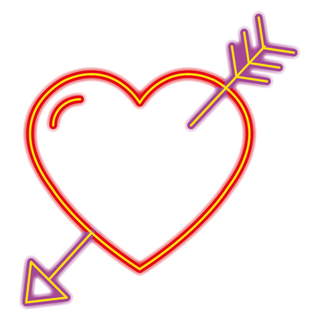 heart love with arrow in neon light vector illustration design
