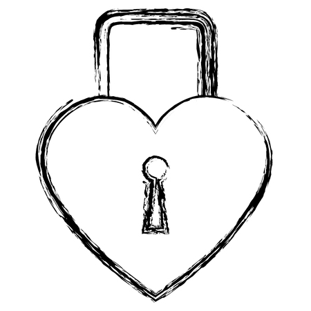 heart love padlock isolated icon vector illustration design Illustration