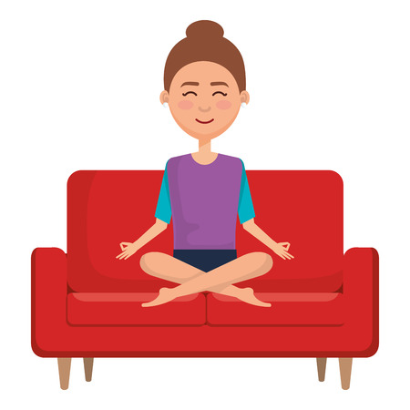 businesswoman doing the lotus position in the sofa vector illustration design Illustration